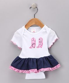 Take a look at this Denim & Pink Bandanna Skirted Bodysuit - Infant by Kiddie Korral on #zulily today!