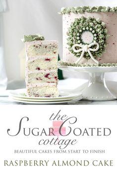 Raspberry Almond Cake - The Sugar Coated Cottage Raspberry And Almond Cake, Raspberry Buttercream, Buttercream Cake, My Dessert, Dessert For Dinner, Almond Cakes, Sweet Tarts, Vanilla Flavoring, Cake Batter