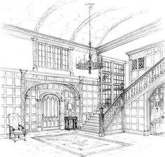 Architecture Drawing Wallpaper perspective art | luxury interior wallpapers: interior perspective