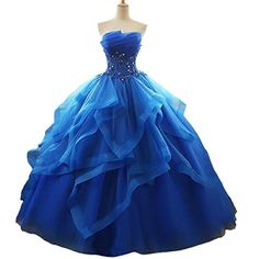 Fair Lady Ruffles Ball Gown Long Quinceanera Dresses Stra...