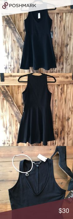 Express Little Black Dress - fit and flare NWT This fit and flare little black dress from Express is the perfect addition to any ladies closet! It is stretchy with a deep neckline that is flattering to all figures. Brand new with tags, ready for you to wear out on the town, to date night or a cocktail hour! Size medium. Express Dresses