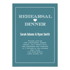 Heart Teal Wedding Rehearsal Dinner Invitations by the Antique Chandelier http://www.zazzle.com/heart_teal_wedding_rehearsal_dinner_invitations-161031146218743497?rf=238589399507967362