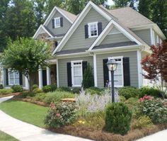 Dark Sage Green House Exterior Ideas For 2020 Green Exterior Paints, Exterior Paint Schemes, Exterior Paint Colors For House, Paint Colors For Home, Exterior Colors, Siding Colors For Houses, Gray Exterior, Paint Colours, Exterior Design