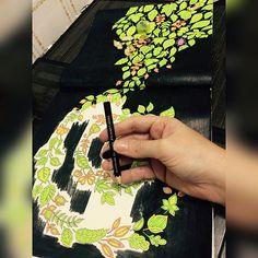 Amo pinturas com o fundo preto, meu lápis é testemunha disso. Está acabando, e agora?  Pintando para o #desafiodasemananeon do IG @colorindolivrostop  #livro #florestaencantada #livrodecolorir #johannabasford #antiestresse #folhas #amopintar #sdv #20likes #follow4follow #like4like #instalike #followbackteam #instadaily #followme #instagood #instago #follow #webstagram #florestaencantadadkpm #followher #like4tags #likeforlike #instalove #instaDKPM #trocoliked  #instapopular