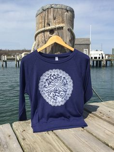 Martha's Vineyard Island With Scallop Shells Tri Blend Pull Over Linocut Block Print Design by altheadesigns on Etsy