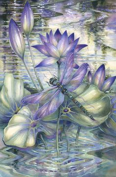 Bergsma Gallery Press::Paintings::Insects & Amphibians::Dragonflies::Amethyst Sunrise...A New Day Awakens - Prints