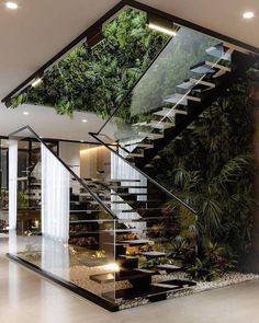 Home Room Design, Dream Home Design, Home Interior Design, Interior And Exterior, Interior Decorating, Interior Garden, Interior Stairs, Green House Design, Modern House Design