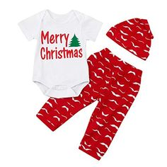Dream/_mimi Lovely Baby Christmas Long Sleeve Santa Suit Top+Pants+Hat Three-Piece Suit