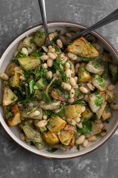 A lovely roasted potato and beet salad with fresh herbs and white beans