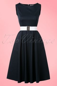 Lady V Navy Blue Hepburn Swing Dress 102 31 17778 20160219 0015W