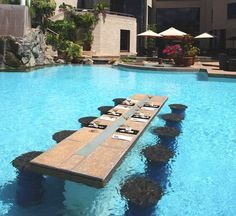 Pool dining at Tribe Hotel – Nairobi, Kenya. A slightly downscaled version will be in my pool when I upgrade from condo to casa!