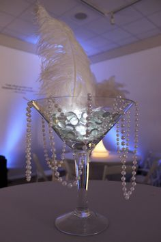 Wedding Themes Gatsby Masquerade Ideas For 2019 1920s Party Decorations, Prom Decor, Decoration Table, Masquerade Party Decorations, Feather Centerpieces, Party Centerpieces, Graduation Centerpiece, Martini Glass Centerpiece, Quinceanera Centerpieces