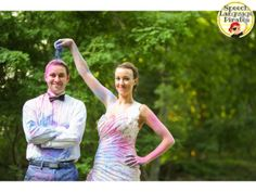 trash the dress baby announcement: powder paint