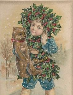 "SCARCE..! FANTASY ""HOLLY"" CHILD CHRISTMAS , TEDDY BEAR, WINSCH,OLD POSTCARD  #Christmas"