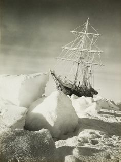 }{     Shackleton Expedition to the South Pole in 1915 taken by Frank Hurley  The ship is the Endurance