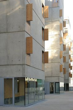 Exterior facade idea, could there be pods on the exterior that are private reading spaces? Could these be exterior versions of Hertzbergers office building wood shutters with a concrete building: Lyon Confluence, France by: CLEMENT VERGELY ARCHITECTES Architecture Design, Concrete Architecture, Minimalist Architecture, Facade Design, Exterior Design, Chinese Architecture, Architecture Office, Futuristic Architecture, Residential Architecture