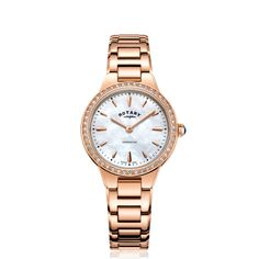 Rotary Two Tone Rose Gold Kensington Ladies Quartz - Stainless Steel Bracelet, Stainless Steel Case, Rotary Watches, Occasion Wear, Rose Gold Plates, Gold Watch, Bracelet Watch, Quartz, Pearls