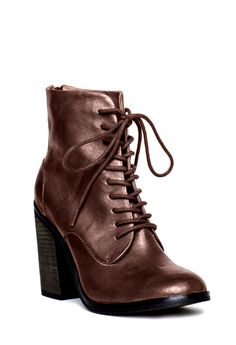 ERIN - Block Heel, Rounded Toe, Lace-up front