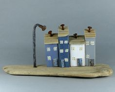 Tactile smooth Natural Driftwood and Four Little Houses  550