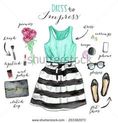 Collection of clothing. Fashion illustration. - stock photo