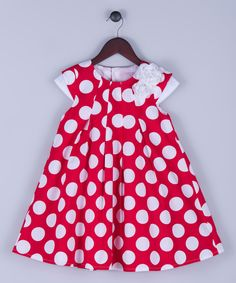 Look at this Joe-Ella Red & White Polka Dot Babydoll Dress - Toddler & Girls on #zulily today!