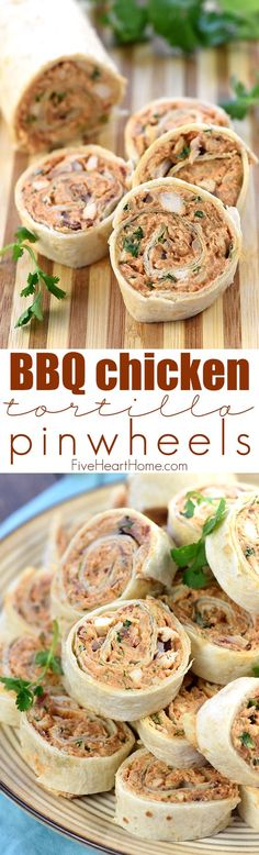 BBQ Chicken Tortilla Pinwheels ~ soft flour tortillas are slathered with a mixture of cream cheese, mozzarella, chicken, bacon, barbecue sauce, red onion, and cilantro, then rolled up tight and sliced in this flavorful, addictive appetizer recipe that's perfect for parties, potlucks, picnics, or game day!   FiveHeartHome.com