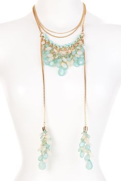Lariat Aqua Beaded Necklace