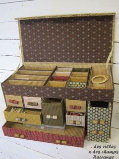 Sara Guermani et Jardin Privé Diy Storage Boxes, Craft Storage, Cardboard Furniture, Cardboard Crafts, Diy Paper, Paper Crafts, Carton Diy, Cardboard Organizer, Diy Karton
