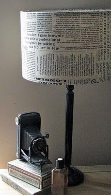 DIY-able Newspaper Covered Lampshade
