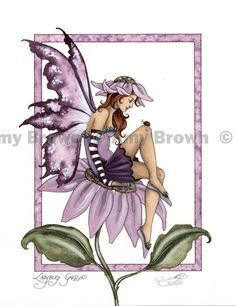"""""""Ladybug Gossip"""" ORIGINAL ART - Watercolor Paintings I - P - Amy Brown Fairy Art - The Official Gallery"""