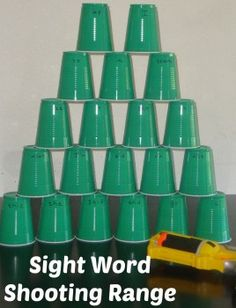 Sight Word Shooting Range. Simple and fun way to practice those tricky sight words. Great for the kinesthetic learner.