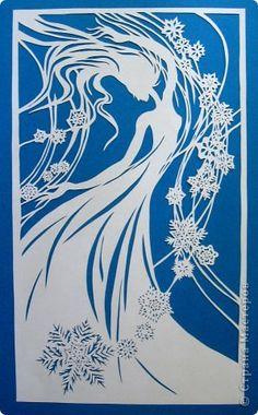 Картина панно рисунок Новый год Вырезание Танец Снежинок_Lois Cordelia Бумага фото 1