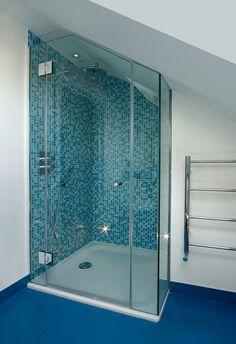"""Glasstrends Ltd """"Frameless glass shower, sloped ceiling"""""""