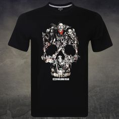 The Walking Dead Men's Skull Montage TV Show Short sleeve Zombie T-shirt #Unbranded #PersonalizedTee
