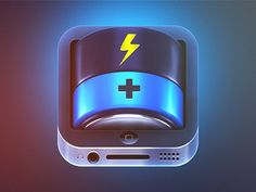 This is an interesting design including the iphone design within the icon design. This is for a battery power saving app. This makes it look like it would have the power of this enormous battery compare in size to the iphone.