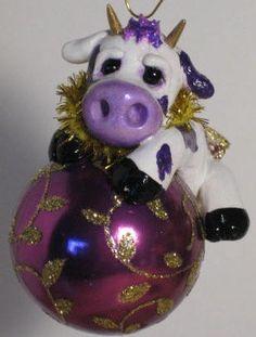 Purple Cow Holstein Calf Heifer Christmas Ornament Holiday