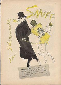 1951 SCHIAPARELLI Snuff Cologne NUDE Slave Girl MAN-Goat Satyr Marcel VERTES art Ad