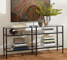 "Tanner Long Console Table - Bronze finish, Pottery Barn.   65"" wide x 14"" deep x 30.5"" high"
