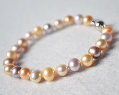 {Beautiful autumn tones!} Colorful Pearl Bracelet 7 Inches multi Color 56mm by EnyaPearls