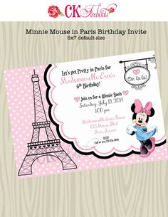 Minnie Mouse in Paris Birthday Invite by ckfireboots on Etsy, $10.00