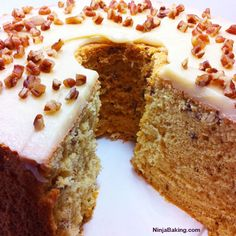 Maple Pecan Chiffon Cake with Brown Butter Icing, #CakeSliceBakers | Ninja Baking