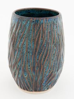 Speckled Bluegreen Carved Ceramic Vase by JaimieWare on Etsy