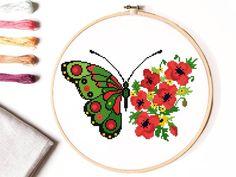 Butterfly Cross Stitch, Cross Stitch Bird, Simple Cross Stitch, Cross Stitch Animals, Cross Stitching, Modern Cross Stitch Patterns, Hand Embroidery Patterns, Le Point, Pattern Flower