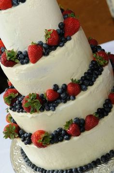 strawberry-filled white wedding cake. in case i have the opportunity to bake another wedding cake.