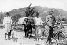 Travelers and their pack. Early Japanese Colonial Period postcard art/photography.