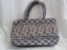 vingtage beaded bag silver beaded bag evening by Pookieandness