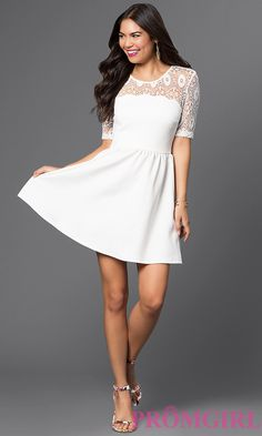 Short Eggshell Scuba Dress with Lace Shoulder Detail Style: CT-7426AW8A