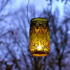 Hand Painted Mason Jar Lantern, Lemon Tinted Glass with Black Accents. $24.00, via Etsy.