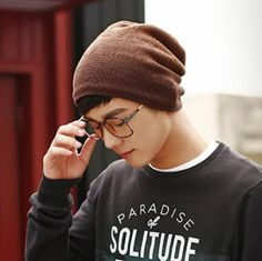 Coffee beanie hat for men winter outdoor leisure knit hats