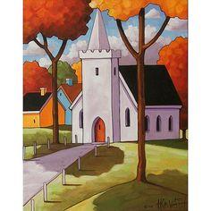 PAINTING ORIGINAL Folk Art White Church Chapel Modern Landscape Autumn Fall Tree Color Scenery Fine Artwork Acrylic on Canvas Horvath 11x14 via Etsy